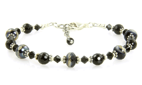 Black Crystal Cream Glass Bracelet - SWCreations