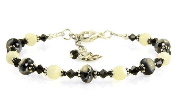 Black Mother of Pearl Crystal Bracelet - SWCreations