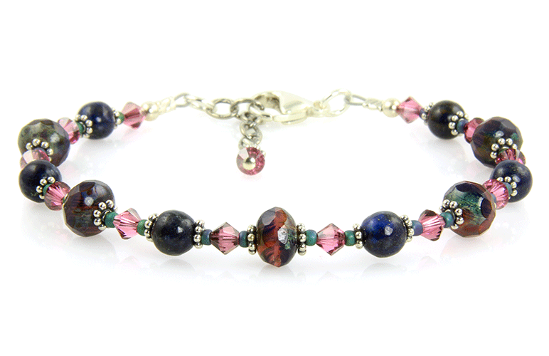 Mauve Blue Gemstone Beaded Bracelet - SWCreations