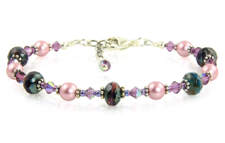 Mauve Pink Crystal Beaded Bracelet - SWCreations