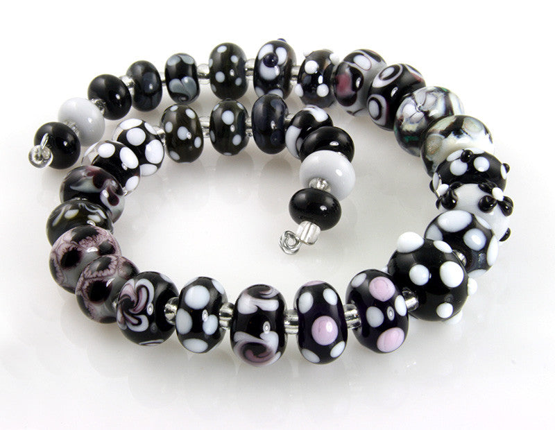 Noir Black White Lampwork Beads SRA - SWCreations  - 2