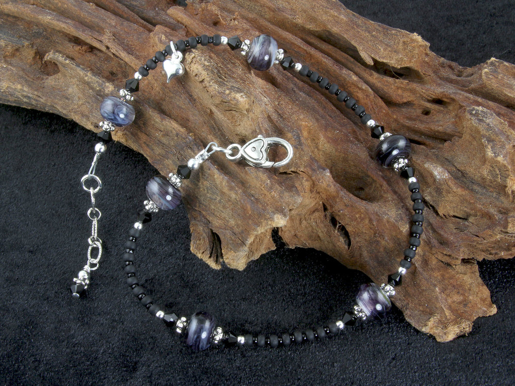 Black Swirls Lampwork Beaded Anklet