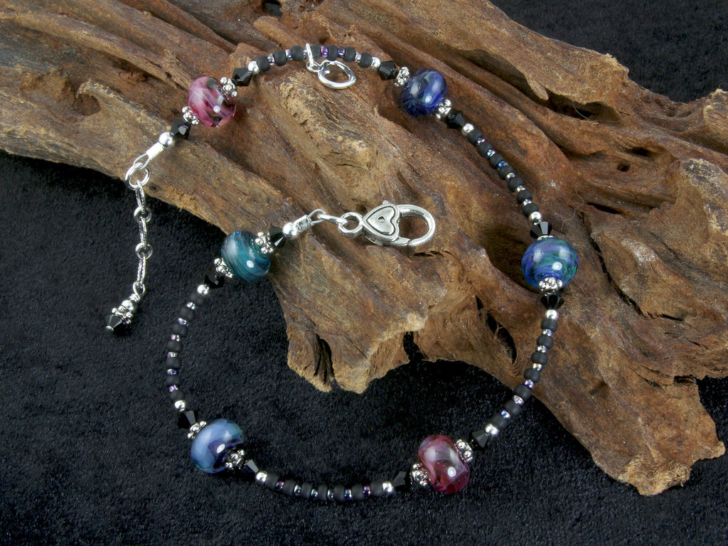 Midnight Color Lampwork Beaded Anklet