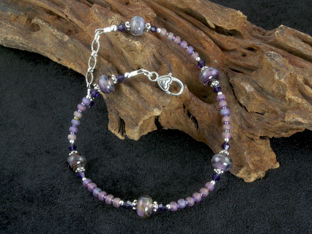 Purple Plum Lampwork Beaded Anklet