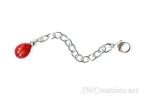 Ladybug Silver Jewelry Necklace Extender - SWCreations