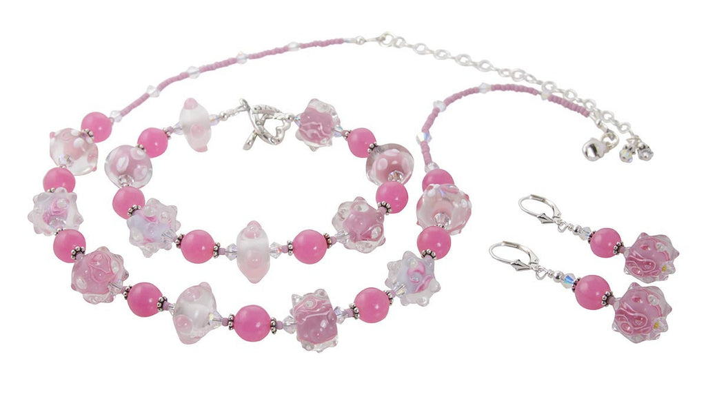 Pretty in Pink Lampwork Jewelry Set - SWCreations  - 1