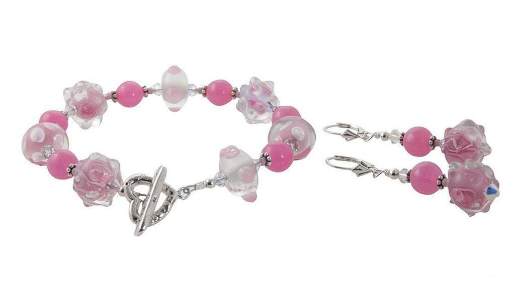 Pretty in Pink Lampwork Jewelry Set - SWCreations  - 4