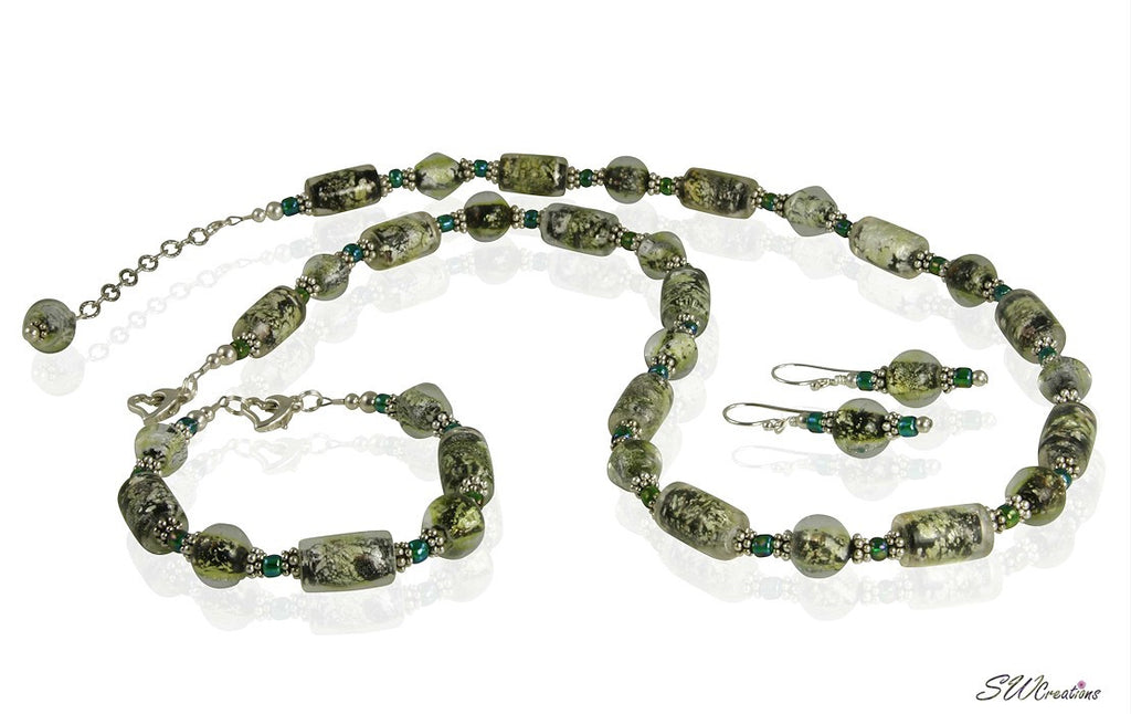 Emerald Peridot Shimmer Beaded Jewelry Set - SWCreations