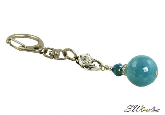 Fancy Aqua Jade Keychain Purse Charm - SWCreations  - 2