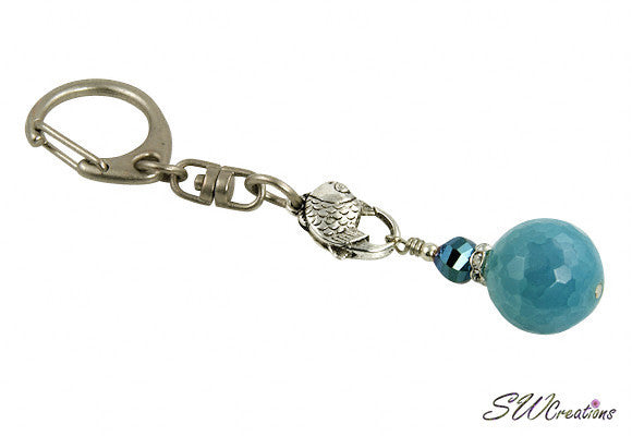 Fancy Aqua Jade Keychain Purse Charm - SWCreations  - 1