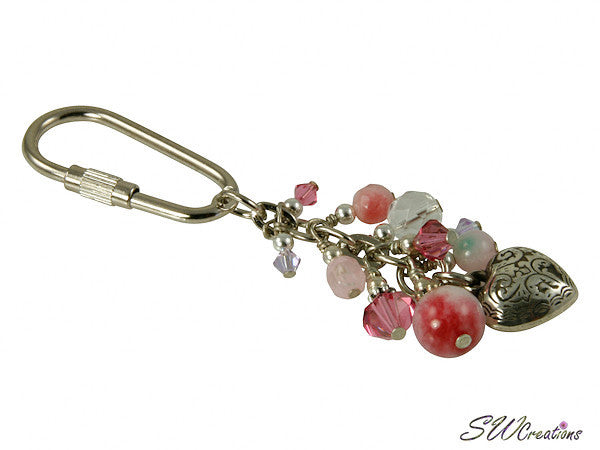 Jade Rose Crystal Heart Beaded Key Chain - SWCreations