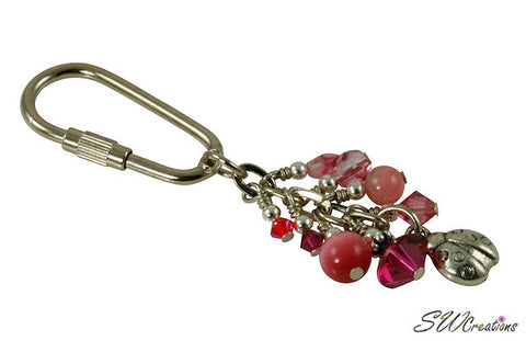 Ladybug Pink Charm Beaded Keychain - SWCreations