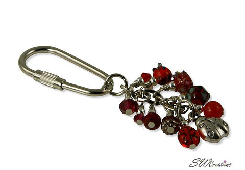 Ladybug Red Charm Beaded Keychain - SWCreations