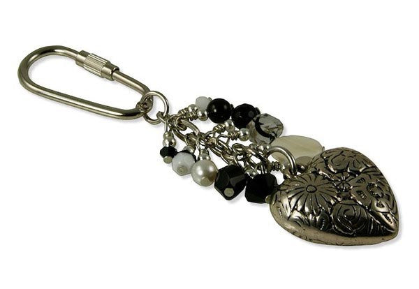 Black and White Heart Charm Keychain - SWCreations
