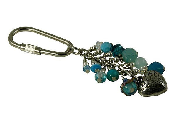 Blue Crystal Heart Beaded Keychain - SWCreations