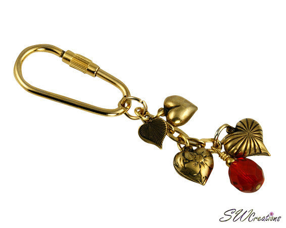 Red Crystal Gold Heart Charm Beaded Keychain - SWCreations