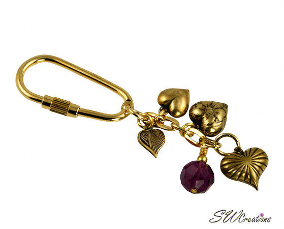 Amethyst Crystal Gold Heart Charm Beaded Keychain - SWCreations