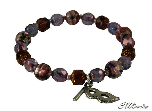 Lavender Multiple Sclerosis Amethyst Mask Beaded Bracelet - SWCreations