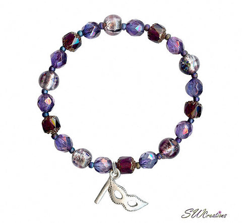 Confetti Multiple Sclerosis Amethyst Mask Beaded Bracelets - SWCreations