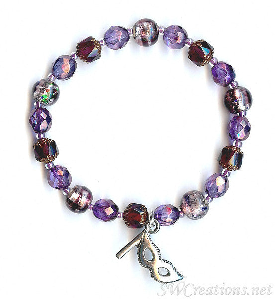 Confetti Multiple Sclerosis Lilac Mask Beaded Bracelets - SWCreations