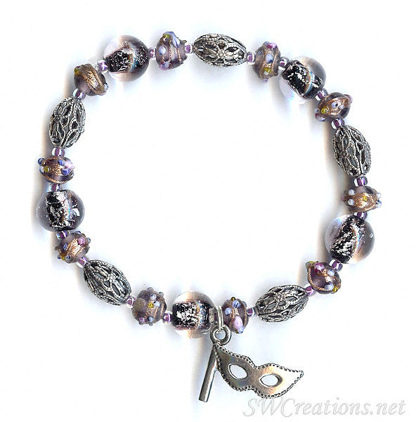 Multiple Sclerosis Lilac Shimmer Mask Beaded Bracelets - SWCreations