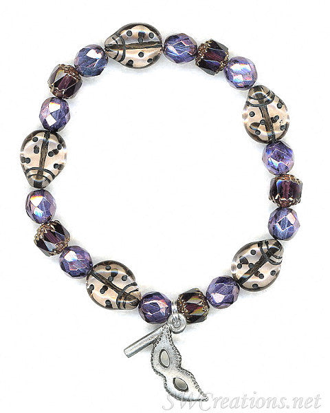 Multiple Sclerosis Mauve Ladybug Mask Beaded Bracelets - SWCreations