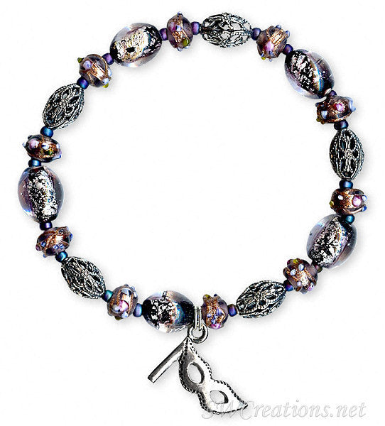 Multiple Sclerosis Purple Shimmer Mask Beaded Bracelets - SWCreations