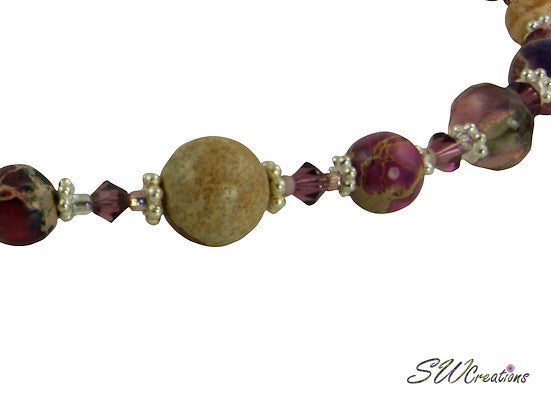 Purple Varascite Jasper Gemstone Beaded Necklace - SWCreations  - 2