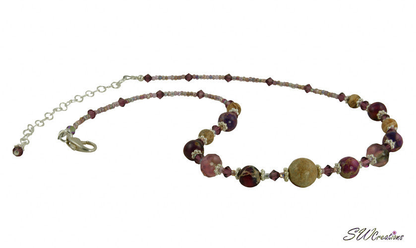 Purple Varascite Jasper Gemstone Beaded Necklace - SWCreations  - 1