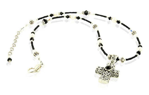 Black Crystal Onyx Cross Beaded Necklace - SWCreations