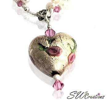 Venetian Heart Crystal Rose Necklace - SWCreations  - 2