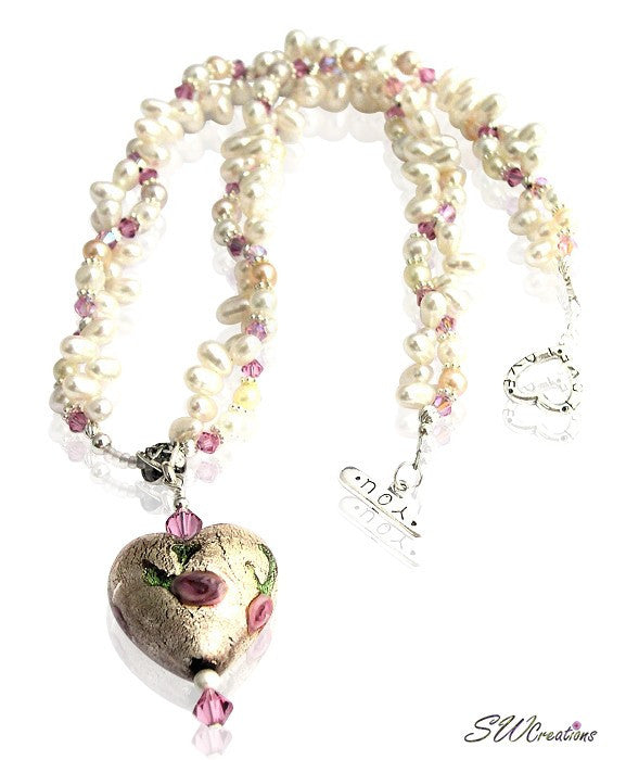 Venetian Heart Crystal Rose Necklace - SWCreations  - 1
