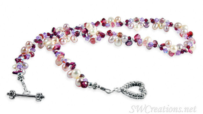 Tourmaline Garnet Gemstone Pearl Twist Necklace - SWCreations