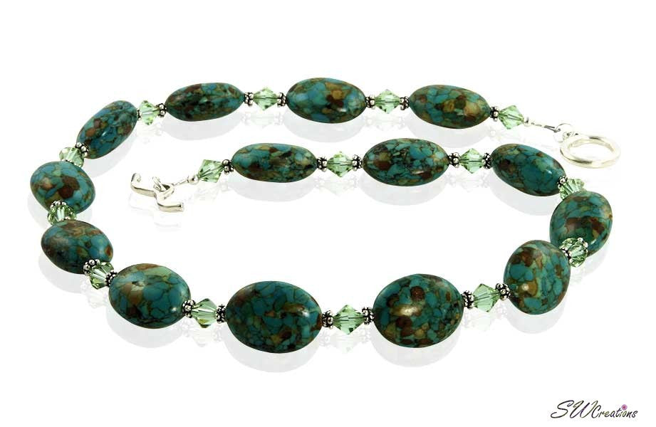 Mosaic Turquoise Crystal Beaded Necklace - SWCreations