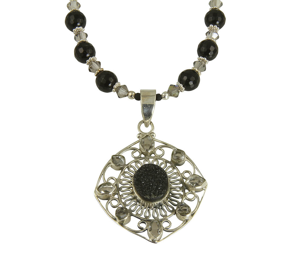 Black Agate Drusy Gemstone Necklace