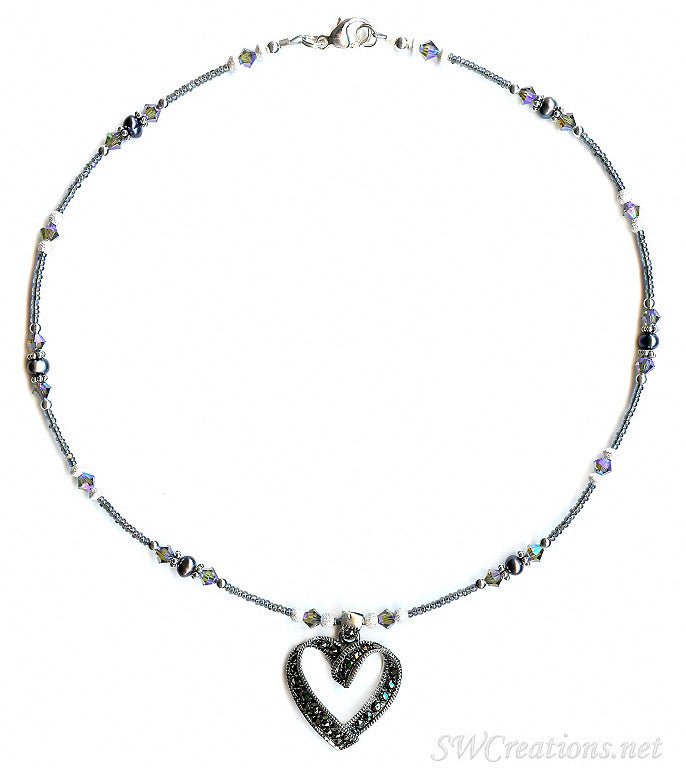 Marcasite Crystal Heart Pearl Necklace - SWCreations