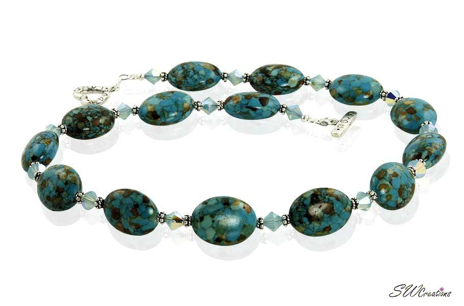 Mosaic Blue Turquoise Crystal Beaded Necklace - SWCreations