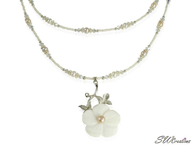 Floral Mother of Pearl Beaded Necklace - SWCreations  - 1