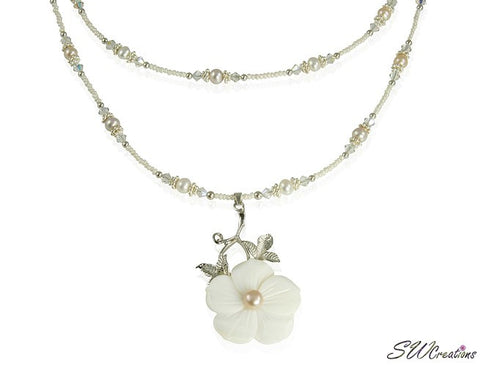 Floral Mother of Pearl Beaded Necklace - SWCreations