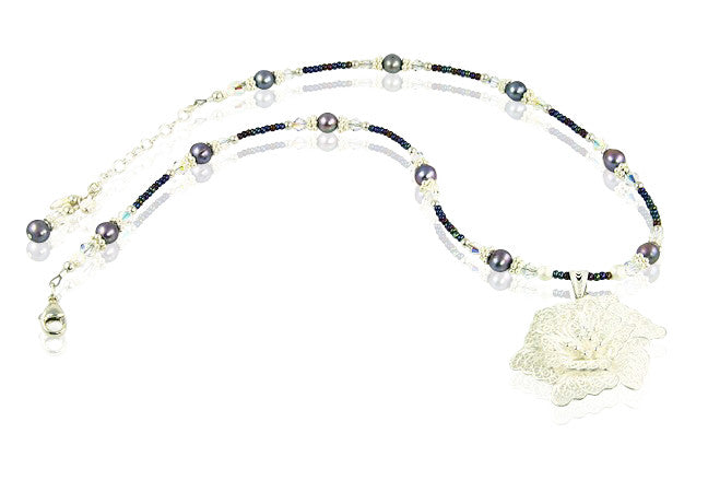 Hibiscus Flower Crystal Pearl Necklace - SWCreations