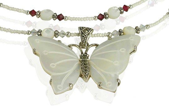 Handmade Butterfly Mother of Pearl Necklace - SWCreations  - 2