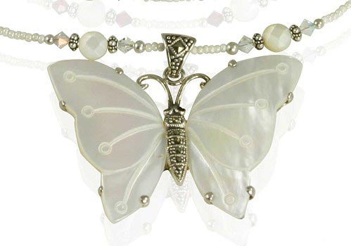 Handmade Butterfly Mother of Pearl Necklace - SWCreations