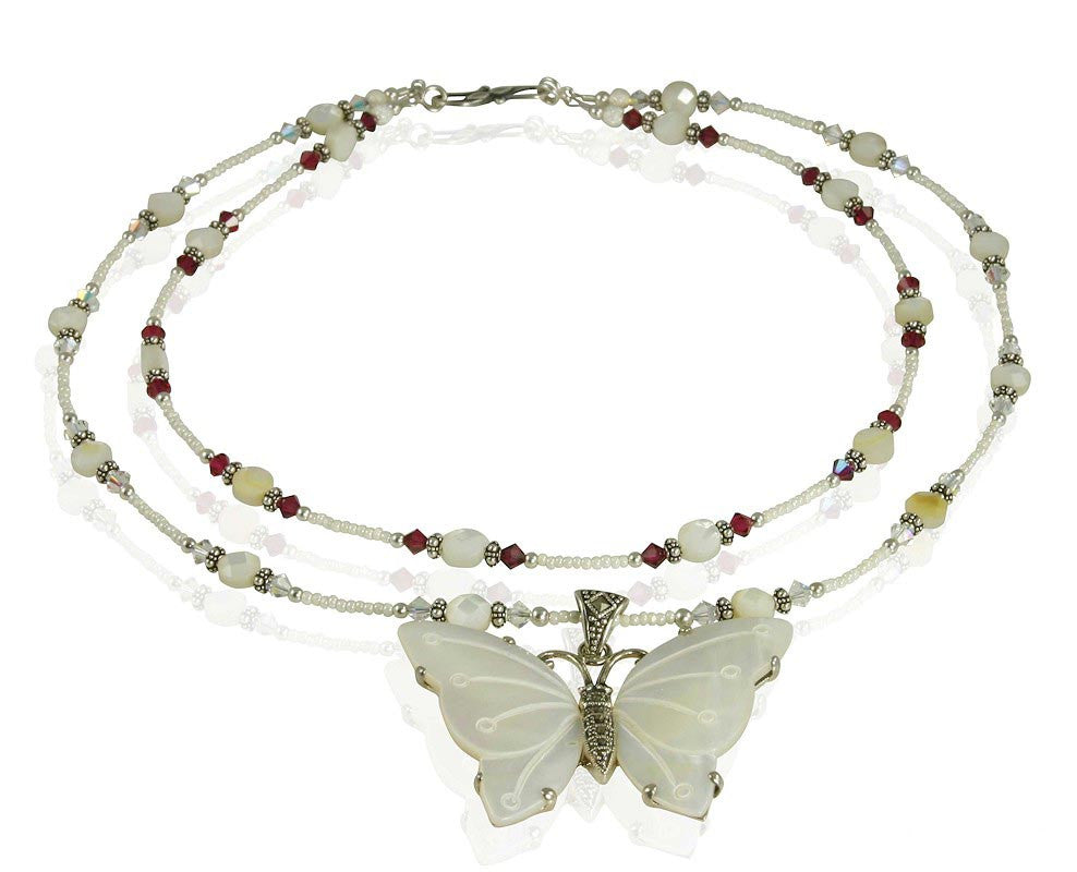 Handmade Butterfly Mother of Pearl Necklace - SWCreations  - 1