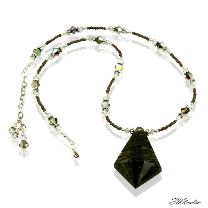 Moss Agate Volcano Crystal Silver Necklace - SWCreations