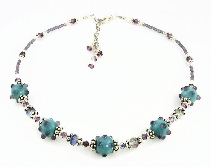 Aqua Violet Crystal Bali Beaded Necklace - SWCreations