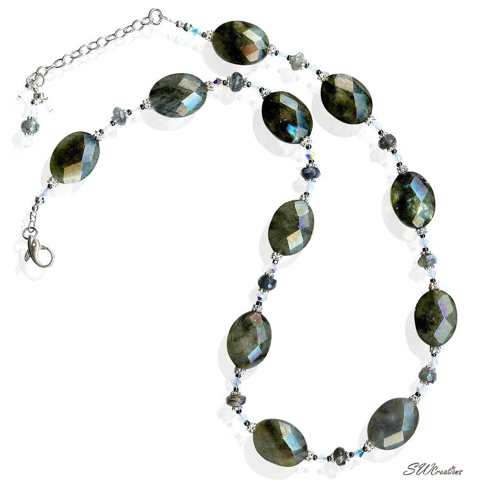 Labradorite Gemstone Opal Crystal Beaded Necklace - SWCreations