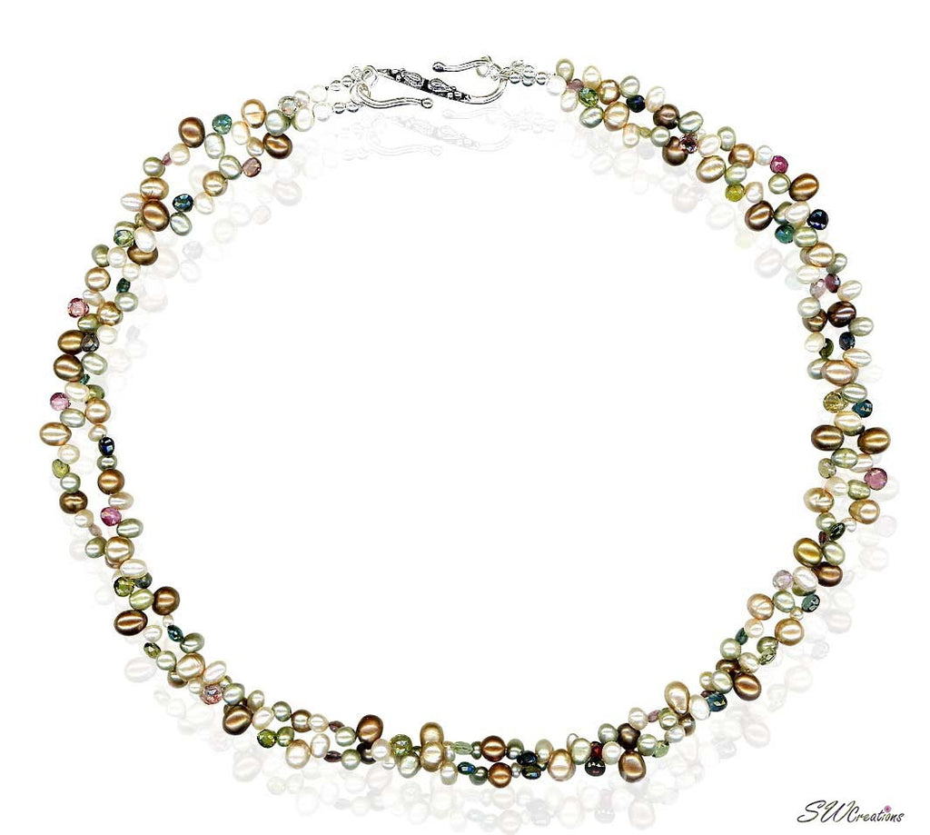 Tourmaline Pearl Silver Beaded Necklace - SWCreations