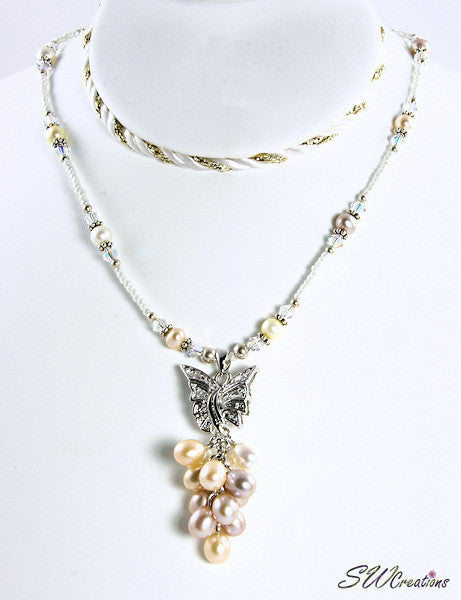 Pearl Butterfly Silver Crystal Necklace - SWCreations