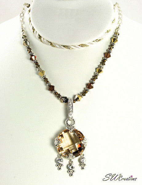 Rosaline Gold Topaz Crystal Necklace - SWCreations