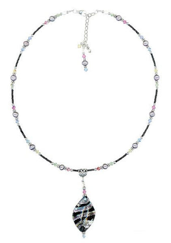 Black Venetian Twist Murano Lampwork Necklace - SWCreations
